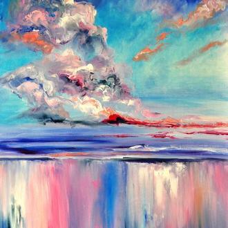"""Картина маслом """"Рассвет над океаном"""", пейзаж живопись, 80х60 см"""