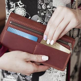 Женский кожаный кошелек-клатч Vilena коричневый, большой женский кошелек из натуральной кожи