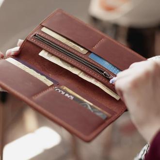 Кожаное портмоне-клатч Vilena, подарок мужчине, женский большой кожаный кошелек