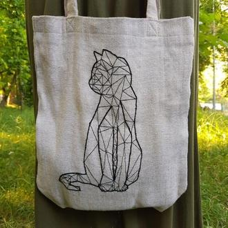Тканевая сумка  с геометрическим рисунком кота