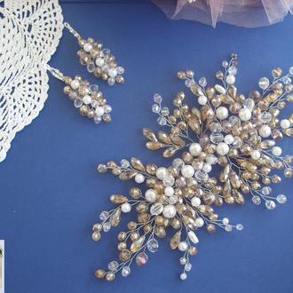 Свадебное украшение для волос, веточка в прическу, украшения в прическу на выпускной , ободок