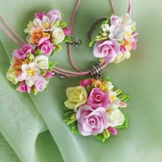 Комплект украшений Ваниль кулон, серьги и кольцо цветы