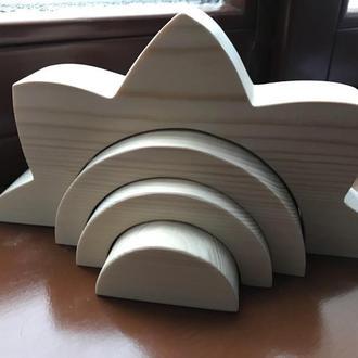 """Дерев""""яні пірамідки Веселка Хмаринка Сонце Деревянные пирамидки Радуга Облако Вода Солнце"""