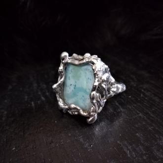кольцо Узоры северных морей, ларимар, натуральные камни