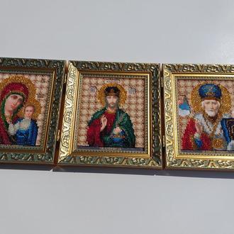 3 иконы иконостас вышивка бисером