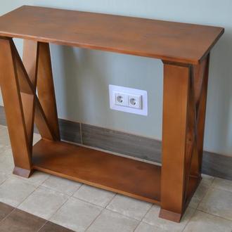 """Деревянный консольный стол в гостиную. Стол консоль,оттенок """"Дуб"""""""