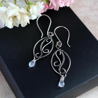 Срібні сережки з місячним каменем Серебряные серьги с лунным камнем Wire wrap