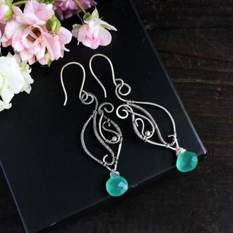 Срібні сережки Серебряные серьги с натурдьный камнем Wire wrap
