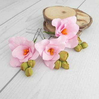 Шпильки для волос с нежно розовыми цветами, розовые шпильки с цветами в прическу невесты