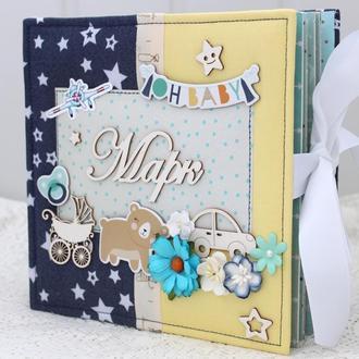 Альбом для новорожденного мальчика , подарок новорожденному