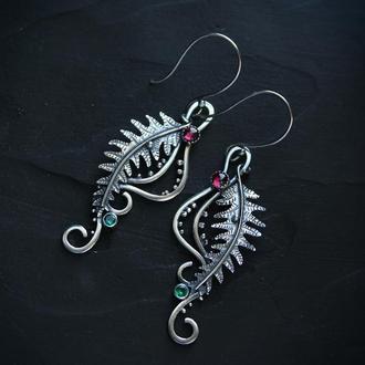 Срібні сережки Цвіт папороті з родолітом
