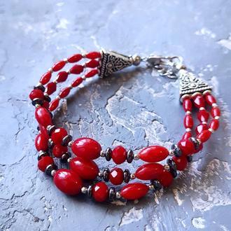 Браслет из натуральных кораллов гематита и кристаллов трехрядный красный браслет из коралла гематита