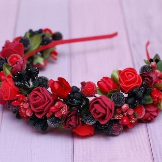 Обруч ободок красно-бордовоо-черный под вышиванку