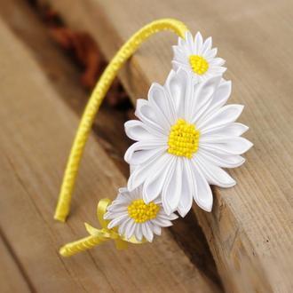 Детский обруч для волос с цветами. Ободок с ромашками