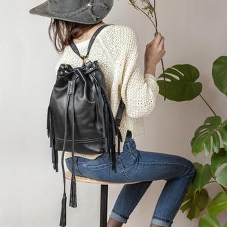 Кожаный черный рюкзак с бахромой, Женская сумка шоппер, Кожаная сумка через плечо