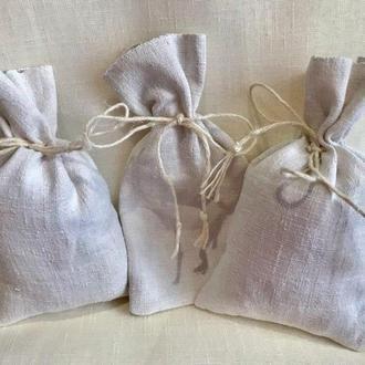 Мешки подарочные маленькие, 100% лен, ручная работа, мешочки для подарков