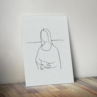 "Вышивка в минималистическом стиле ""Мона Лиза"","