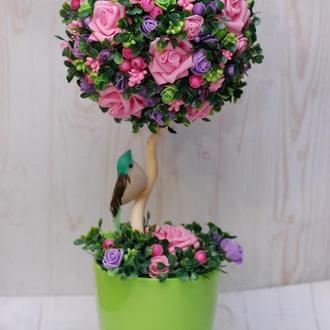 Яркий красочный топиарий - дерево счастья