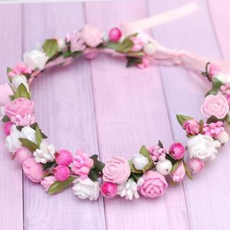 Нежный бело-розовый венок веночек для волос с цветами