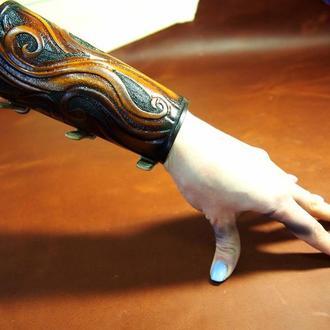 Браслет тиснение, женский кожаный браслет на руку, оригинальный браслет, широкий браслет