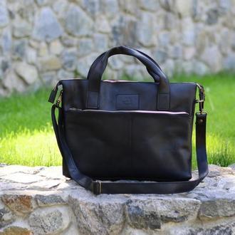 Черная сумка для ноутбука, Кожаная мужская сумка мессенджер
