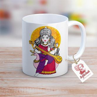 """Дизайнерская чашка """"Индийская богиня Сарасвати на лебеде"""""""