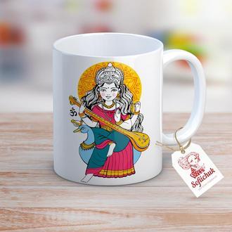 Индийская богиня Сарасвати на лебеде - дизайнерская чашка  авторской иллюстрацией