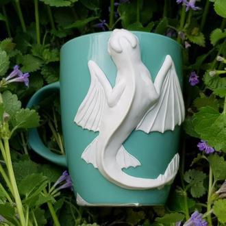 Чашка с декором белый Дракон (Дневная фурия) из полимерной глины