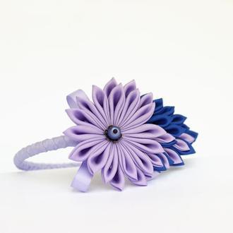 Обруч канзаши. Ободок для волос с бантиком и цветком. Фиолетовый ободок