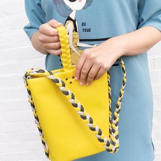 """Желтая сумка ведерко """"Riva"""". Сумка на плечо из экокожи. Летняя сумка, бохо сумка."""