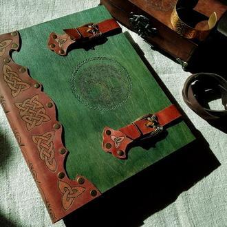 деревяный блокнот, блокнот в деревянной обложке, подарки из дерева, скетчбук из дерева