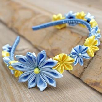 Ободок для волос сине-желтый. Канзаши обруч с цветами ручной работы. Подарок для девочки