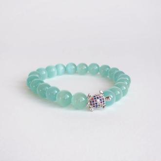 Мятный браслет из натурального камня (модель № 352) JK jewelry