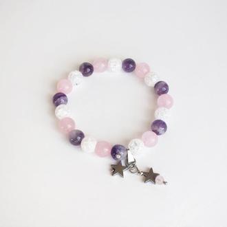 Браслет из аметиста, горного хрусталя  и розового кварца (модель № 353) JK jewelry