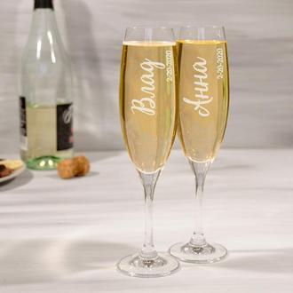 Парные бокалы для шампанского с индивидуальной гравировкой для влюбленных