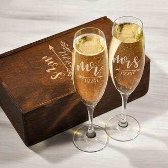 Набор бокалов для шампанского с лазерной гравировкой «Mr&Mrs»