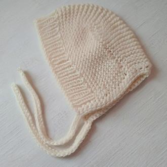 Детская шапочка - чепчик с завязками
