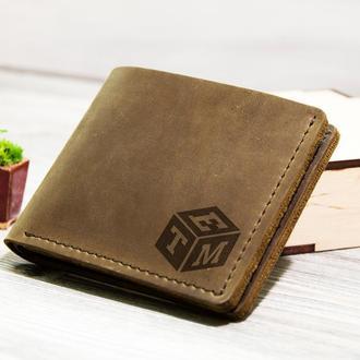 Кожаный кошелек для мужчин с именной гравировкой монограммы