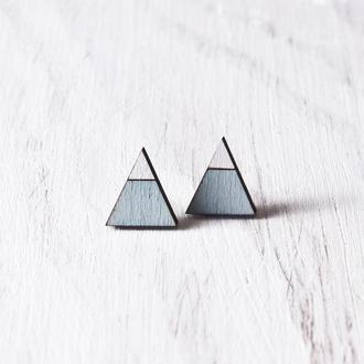 Серьги гвоздики треугольники, сережки горы