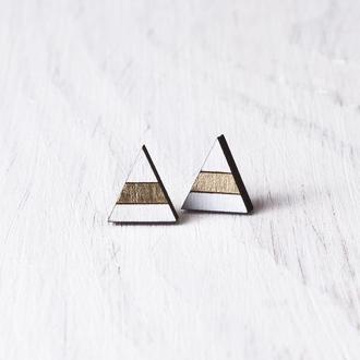 Серьги гвоздики треугольники, Сережки деревянные