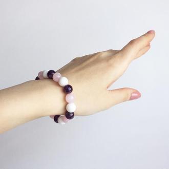 Браслет из аметиста,белого нефрита и розового кварца (модель № 355) JK jewelry