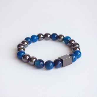 Браслет из синего агата и гематита (модель № 357) JK jewelry
