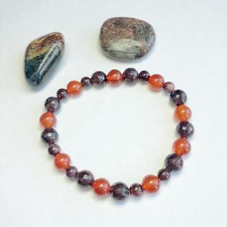 Браслет из граната и сердолика, женский браслет из натуральных камней, красный браслет