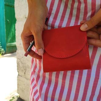 Кожаный красный кошелек портмоне маленький с тиснением или росписью