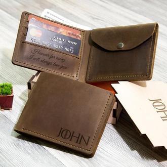 Кожаное портмоне с гравировкой в стиле «Игра престолов», подарок для друга