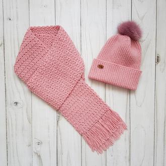Вязаный комплект - шапка и шарф