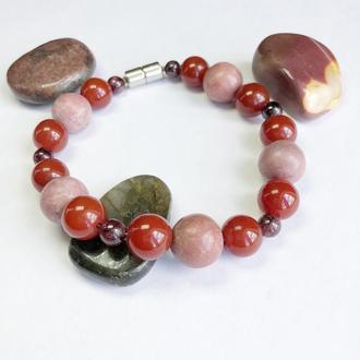 Женский красный браслет из натуральных камней, браслет с магнитом из родонита, сердолика, граната