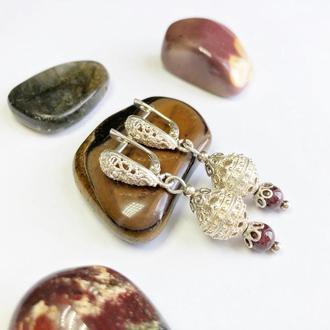 Гранатовые серьги серебро, серебряные серьги с гранатом, серьги с натуральными камнями