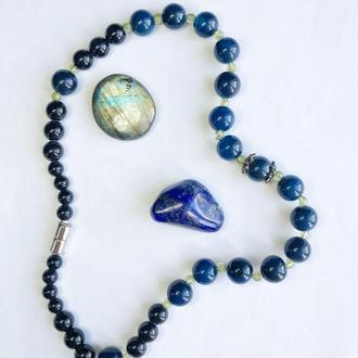 Бусы из натуральных камней, бусы из синих камней, серебряные бусы из агата и перидота