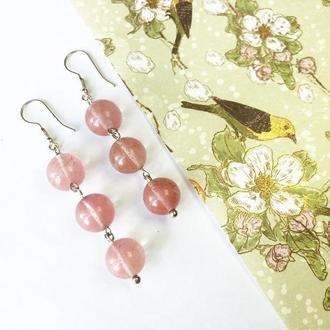 Длинные серьги с кварцем, серьги висюльки, розовые серьги, серебряные серьги с подвесками